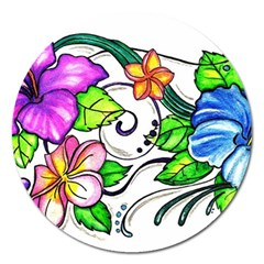 Tropical Hibiscus Flowers Magnet 5  (round) by EverIris