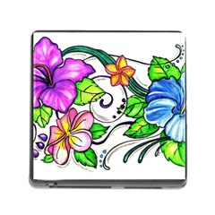 Tropical Hibiscus Flowers Memory Card Reader (square) by EverIris