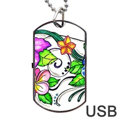 Tropical Hibiscus Flowers Dog Tag Usb Flash (one Side) by EverIris