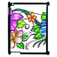 Tropical Hibiscus Flowers Apple Ipad 2 Case (black) by EverIris