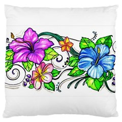 Tropical Hibiscus Flowers Large Cushion Case (two Sides) by EverIris