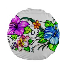 Tropical Hibiscus Flowers Standard 15  Premium Round Cushions by EverIris