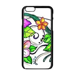 Tropical Hibiscus Flowers Apple Iphone 6/6s Black Enamel Case by EverIris
