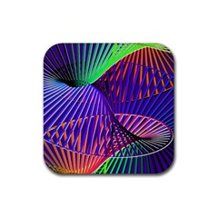 Colorful Rainbow Helix Rubber Square Coaster (4 Pack)  by designworld65