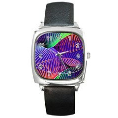 Colorful Rainbow Helix Square Metal Watch by designworld65