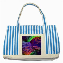 Colorful Rainbow Helix Striped Blue Tote Bag by designworld65