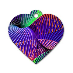 Colorful Rainbow Helix Dog Tag Heart (one Side) by designworld65
