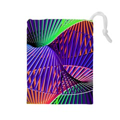 Colorful Rainbow Helix Drawstring Pouches (large)  by designworld65