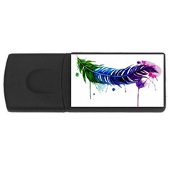 Watery Feather Usb Flash Drive Rectangular (4 Gb)  by EverIris