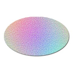 Rainbow Colorful Grid Oval Magnet by designworld65