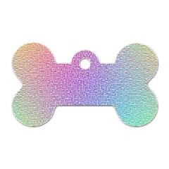 Rainbow Colorful Grid Dog Tag Bone (two Sides) by designworld65