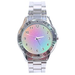 Rainbow Colorful Grid Stainless Steel Analogue Watch by designworld65