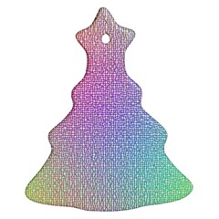 Rainbow Colorful Grid Christmas Tree Ornament (2 Sides) by designworld65