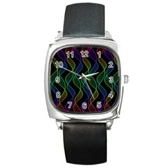 Rainbow Helix Black Square Metal Watch by designworld65