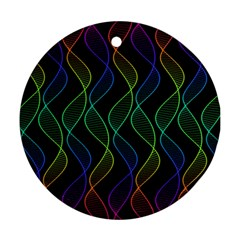 Rainbow Helix Black Round Ornament (two Sides)  by designworld65
