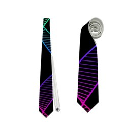 Rainbow Helix Black Neckties (one Side)  by designworld65