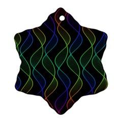 Rainbow Helix Black Snowflake Ornament (2 Side) by designworld65