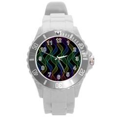 Rainbow Helix Black Round Plastic Sport Watch (l) by designworld65