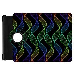 Rainbow Helix Black Kindle Fire Hd Flip 360 Case by designworld65