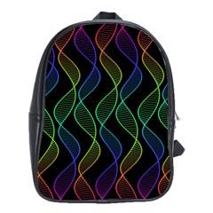 Rainbow Helix Black School Bags (xl)  by designworld65