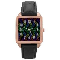 Rainbow Helix Black Rose Gold Leather Watch  by designworld65