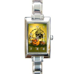 Halloween, Funny Pumpkins And Skull With Spider Rectangle Italian Charm Watch by FantasyWorld7
