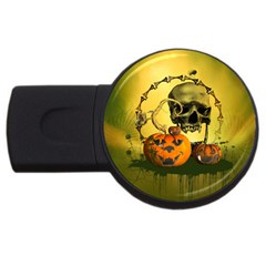 Halloween, Funny Pumpkins And Skull With Spider Usb Flash Drive Round (2 Gb)  by FantasyWorld7