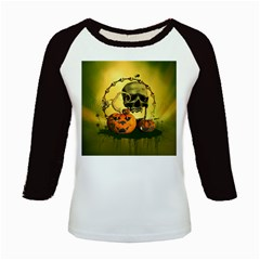 Halloween, Funny Pumpkins And Skull With Spider Kids Baseball Jerseys by FantasyWorld7