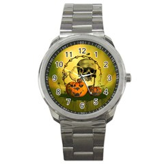 Halloween, Funny Pumpkins And Skull With Spider Sport Metal Watch by FantasyWorld7
