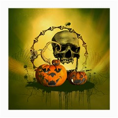 Halloween, Funny Pumpkins And Skull With Spider Medium Glasses Cloth (2 Side) by FantasyWorld7
