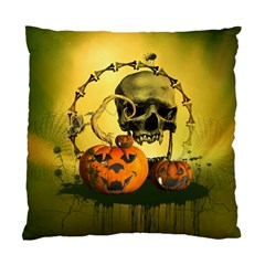 Halloween, Funny Pumpkins And Skull With Spider Standard Cushion Case (two Sides) by FantasyWorld7