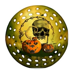 Halloween, Funny Pumpkins And Skull With Spider Ornament (round Filigree)  by FantasyWorld7