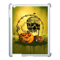 Halloween, Funny Pumpkins And Skull With Spider Apple Ipad 3/4 Case (white) by FantasyWorld7