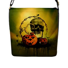 Halloween, Funny Pumpkins And Skull With Spider Flap Messenger Bag (l)  by FantasyWorld7