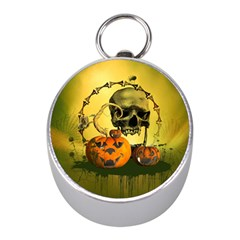 Halloween, Funny Pumpkins And Skull With Spider Mini Silver Compasses by FantasyWorld7