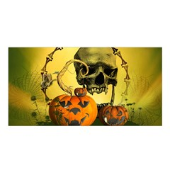 Halloween, Funny Pumpkins And Skull With Spider Satin Shawl by FantasyWorld7