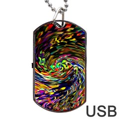 Abstract Art, Colorful, Texture Dog Tag Usb Flash (one Side) by AnjaniArt