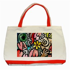 Abstract Doodle Classic Tote Bag (red)
