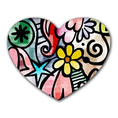 Abstract Doodle Heart Mousepads