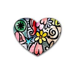 Abstract Doodle Rubber Coaster (heart)