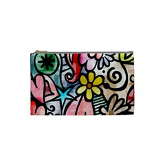 Abstract Doodle Cosmetic Bag (small)  by AnjaniArt