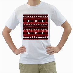 Asterey Red Pattern Men s T Shirt (white) (two Sided)