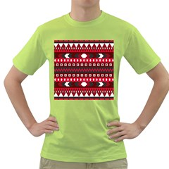 Asterey Red Pattern Green T Shirt