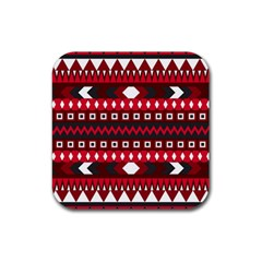 Asterey Red Pattern Rubber Coaster (square)