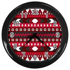 Asterey Red Pattern Wall Clocks (black) by AnjaniArt