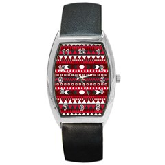 Asterey Red Pattern Barrel Style Metal Watch