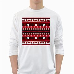Asterey Red Pattern White Long Sleeve T Shirts