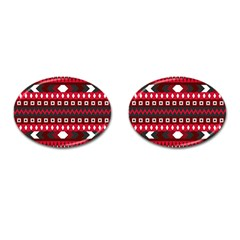 Asterey Red Pattern Cufflinks (oval)