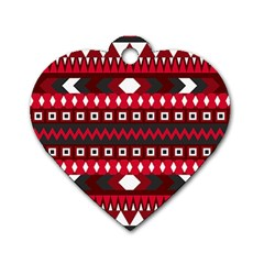 Asterey Red Pattern Dog Tag Heart (one Side)