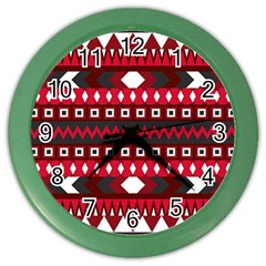 Asterey Red Pattern Color Wall Clocks